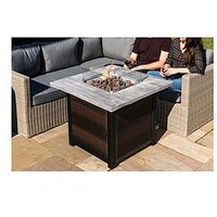Product photograph showing Peaktop Peaktop Firepit Outdoor Gas Fire Pit Rattan Easy Ignition