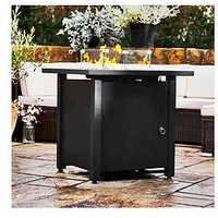 Product photograph showing Peaktop Peaktop Firepit Outdoor Gas Fire Pit Metal With Glass Rocks Cover