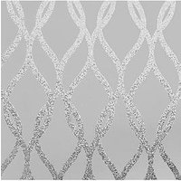 Product photograph showing Arthouse Arthouse Sequin Trellis Grey Silver Wallpaper