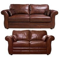 Product photograph showing Vantage Italian Leather 3 Seater 2 Seater Sofa Set Buy And Save