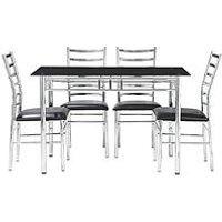 Product photograph showing Elect 120 Cm Glass Dining Table 4 Chairs