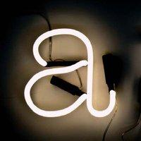 Applique con presa Neon Art - Lettera A di Seletti - Bianco - Vetro