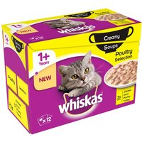 Whiskas 1+ Creamy Soup Poultry Selection - Saver Pack: 48 x 85g