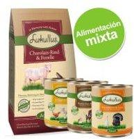 Pack alimentación mixta: pienso 10 kg + 6 x 400 g comida húmeda Lukullus - Pienso vacuno y pato (10kg) + latas vacuno y pavo (6x400g)