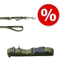 Set HUNTER: collar + correa London verde oliva - Collar Vario Rapid S + correa 200 cm, 10 mm ancho