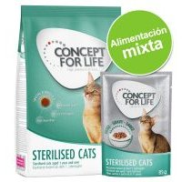 Pack nutrición mixta: pienso 400 g + sobres Concept for Life 12 x 85 g - Sterilised Cats