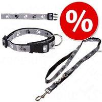 Set Trixie: collar + correa gris ajustable y reflectante - Tamaño M-L: ajustable 35 - 55 cm, 20 mm de ancho + correa