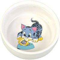 Trixie Ceramic Cat Bowl with Cartoon - 0.3 litre