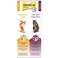 Lot GimCat Pâte multivitaminée + Pâte au malt pour chat - 2 x 50 g