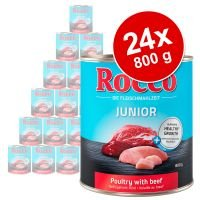 Pack Ahorro: Rocco Junior 24 x 800 g - Ave con corazón de pollo y arroz