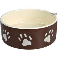 Comedero de cerámica marrón con huellas de Trixie - 1,4 litros, 20 cm de diámetro