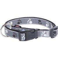 Trixie Reflective Paws Dog Collar - Silver - Size M-L