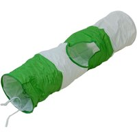 Cat Tunnel in Green and White - L 100cm x Diameter 24cm