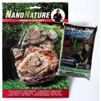 NanoNature Pale Pagoda Rock Set - 5 rocks + 3 litres NatureSoil brown, fine