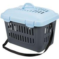 Cage de transport Trixie Capri gris foncé / bleu clair l44 P33 H32 cm pour chien, chat et rongeur