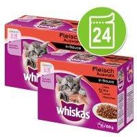 Whiskas Junior 2-12 meses 24 x 85/100 g en bolsitas - Pack Ahorro - Selección de pescados en gelatina (24 x 100 g)