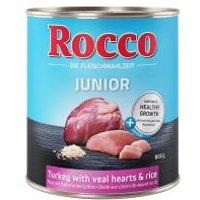 Rocco Junior 6 x 800 g - Pavo con corazón de ternera y arroz