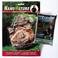 NanoNature Helle Pagode Set - 5 Steine + 3 Liter NatureSoil braun, fein