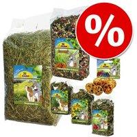 6-teiliges Mixpaket von JR Farm: Futter, Heu, Kräutermischung und Snack - Set aus Futter, Ergänzung, Heu und Snack
