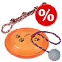 Set giochi Estate Trixie: doppia corda, frisbee e palla in gomma Set giochi Estate Trixie (3 pezzi)