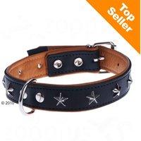 Collier en cuir Heim Stars, noir pour chien - taille 60 : tour de cou 45-55 cm