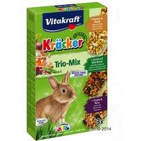 Vitakraft galletas Trio-Mix para conejos enano - 3x3 Palomitas & Miel, Verduras & Remolacha, Uva & Nuez