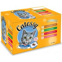 Catessy Pouches Saver Pack 48 x 100g - Chunks in Vegetable or Egg Jelly