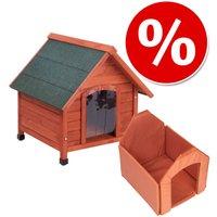 Lot Spike Comfort : niche, isolation et porte pour chien - kit taille L : l 84 x P 101 x H 87 cm