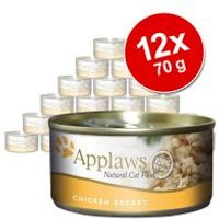 Applaws en caldo 12 x 70 g latas para gatos - Pack Ahorro - Filete de atún y gambas