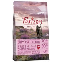 Übergangsset! Purizon- getreidefreies Katzenfutter für Kitten und erwachsene Katzen - 2,5 kg Kitten + 2,5 kg Adult Huhn & Fisch