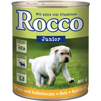 Rocco Junior 6 x 800g - Turkey, Veal Hearts & Calcium