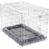Double Door Transport Cage with Cushion - Size M: 78 x 55 x 61 cm (L x W x H)