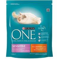 Purina ONE Sensitive Turkey & Rice Dry Cat Food - Economy Pack: 2 x 3kg