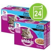 Whiskas 1+ años 24 x 85/100 g en bolsitas - Pack Ahorro - Selección de pescado y carnes en gelatina (24 x 100 g)