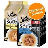 Sheba Classic Soup en bolsitas 8 x 40 g ¡con descuento! - Pack de prueba mixto - Pack mixto: Tiras pollo + Filetes de atún (8 x 40 g)