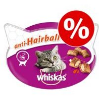 Whiskas snacks para gatos - Pack Ahorro - Trio Crunchy Carne (6 x 55 g)