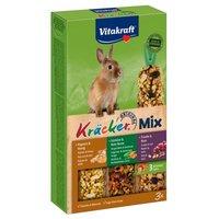 Vitakraft Zwergkaninchen-Kräcker Trio-Mix - 1 x 3er Kombi (Popcorn, Gemüse, Traube)