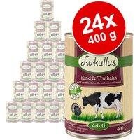 Pack Ahorro: Lukullus 24 x 400 g - Conejo del monte y pavo