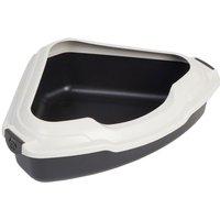 Corner Litter Tray - Anthracite & Stippled Cream