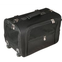 Travel Trolley Pet Carrier with Wheels - Black - 47 x 27 x 31 cm (L x W x H)