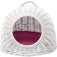 Aumller White Wicker Den with Reversible Cushion - 50 x 39 x 44 cm (L x W x H)