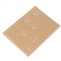 Paw Print Litter Tray Mat - Beige