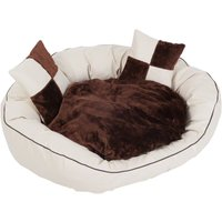 Coffee & Cream Artificial Leather Bed - 100 x 80 x 28 cm (L x W x H)