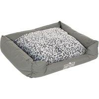 Oekobed Dog Bed in plush Leopard print - Size M: 100 x 80 x 25 cm (L x W x H)