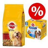 Pedigree 13/15 kg pienso + 56 uds. Dentastix perros medianos ¡precio especial! - Complete Junior con pollo y arroz (15 kg) + 56 Dentastix perros medianos