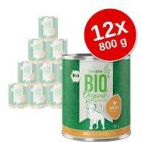zooplus Bio 12 x 800 g comida ecológica para perros - Pack Ahorro - Pack mixto: vacuno + pavo ecológicos