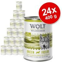 Pack Ahorro: Wolf of Wilderness 24 x 400 g - Green Fields, con cordero