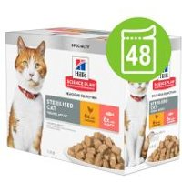 Hill's 48 x 85 g en bolsitas para gatos - Pack Ahorro - Young Adult Sterilised Salmón