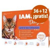 IAMS sobres 48 x 85 g en oferta: 36 + 12 ¡gratis! - Delights Adult mezcla de la tierra y el mar en salsa