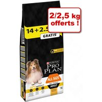 14+2,5kg offerts All sizes Adult Light/Sterilised poulet Pro Plan Croquettes pour chien
